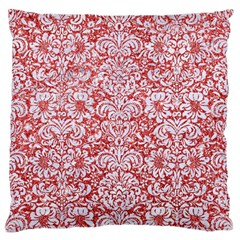 Damask2 White Marble & Red Glitter Large Flano Cushion Case (one Side) by trendistuff