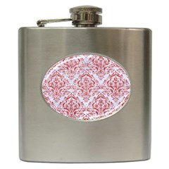 Damask1 White Marble & Red Glitter (r) Hip Flask (6 Oz) by trendistuff