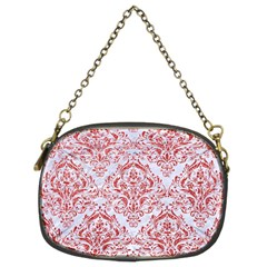 Damask1 White Marble & Red Glitter (r) Chain Purses (two Sides)  by trendistuff