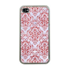 Damask1 White Marble & Red Glitter (r) Apple Iphone 4 Case (clear) by trendistuff