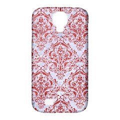 Damask1 White Marble & Red Glitter (r) Samsung Galaxy S4 Classic Hardshell Case (pc+silicone) by trendistuff