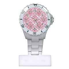 Damask1 White Marble & Red Glitter (r) Plastic Nurses Watch by trendistuff