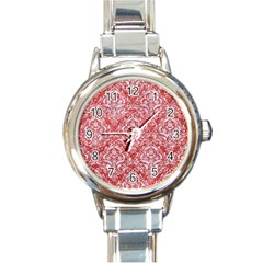 Damask1 White Marble & Red Glitter Round Italian Charm Watch by trendistuff