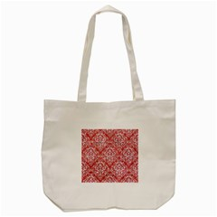 Damask1 White Marble & Red Glitter Tote Bag (cream) by trendistuff