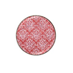 Damask1 White Marble & Red Glitter Hat Clip Ball Marker (10 Pack) by trendistuff