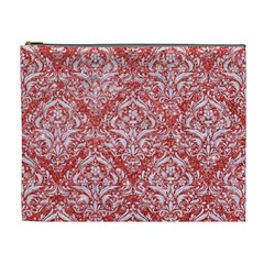 Damask1 White Marble & Red Glitter Cosmetic Bag (xl) by trendistuff
