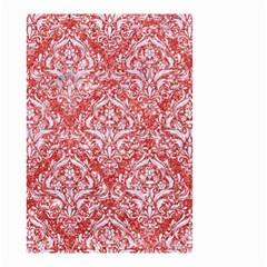 Damask1 White Marble & Red Glitter Small Garden Flag (two Sides) by trendistuff