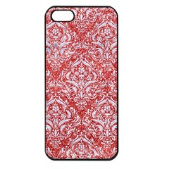 Damask1 White Marble & Red Glitter Apple Iphone 5 Seamless Case (black) by trendistuff