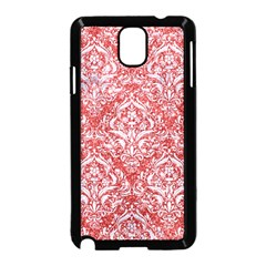 Damask1 White Marble & Red Glitter Samsung Galaxy Note 3 Neo Hardshell Case (black) by trendistuff