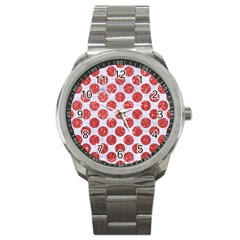 Circles2 White Marble & Red Glitter (r) Sport Metal Watch by trendistuff
