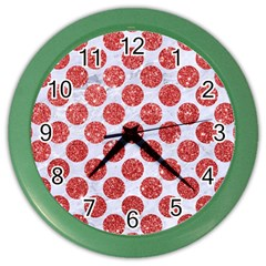 Circles2 White Marble & Red Glitter (r) Color Wall Clocks by trendistuff