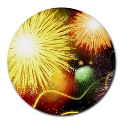 Celebration Colorful Fireworks Beautiful Round Mousepads by Sapixe
