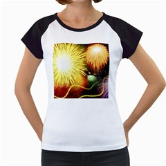 Celebration Colorful Fireworks Beautiful Women s Cap Sleeve T