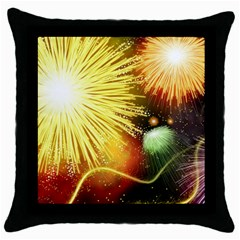 Celebration Colorful Fireworks Beautiful Throw Pillow Case (black) by Sapixe