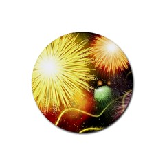 Celebration Colorful Fireworks Beautiful Rubber Round Coaster (4 Pack)  by Sapixe