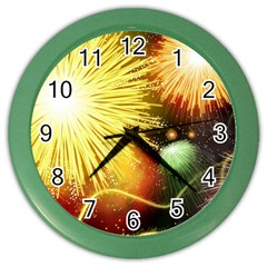 Celebration Colorful Fireworks Beautiful Color Wall Clocks by Sapixe