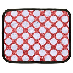 Circles2 White Marble & Red Glitter Netbook Case (xxl)  by trendistuff
