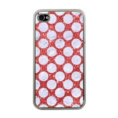 Circles2 White Marble & Red Glitter Apple Iphone 4 Case (clear) by trendistuff