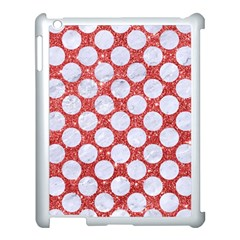 Circles2 White Marble & Red Glitter Apple Ipad 3/4 Case (white) by trendistuff