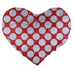 Circles2 White Marble & Red Glitter Large 19  Premium Flano Heart Shape Cushions by trendistuff