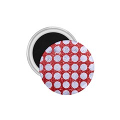 Circles1 White Marble & Red Glitter 1 75  Magnets by trendistuff