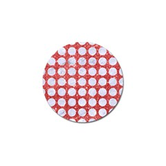 Circles1 White Marble & Red Glitter Golf Ball Marker by trendistuff