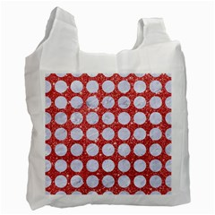 Circles1 White Marble & Red Glitter Recycle Bag (two Side)  by trendistuff
