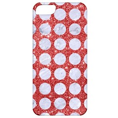 Circles1 White Marble & Red Glitter Apple Iphone 5 Classic Hardshell Case by trendistuff
