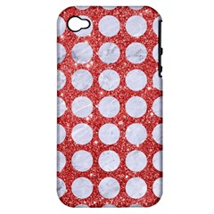 Circles1 White Marble & Red Glitter Apple Iphone 4/4s Hardshell Case (pc+silicone) by trendistuff