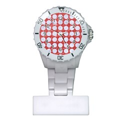 Circles1 White Marble & Red Glitter Plastic Nurses Watch by trendistuff