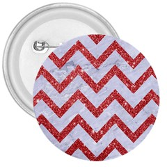Chevron9 White Marble & Red Glitter (r) 3  Buttons by trendistuff