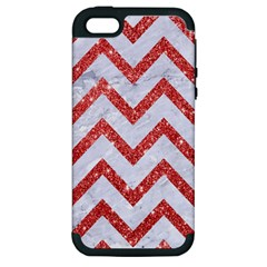 Chevron9 White Marble & Red Glitter (r) Apple Iphone 5 Hardshell Case (pc+silicone)