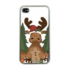 Christmas Moose Apple Iphone 4 Case (clear)