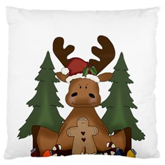 Christmas Moose Standard Flano Cushion Case (one Side)