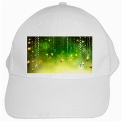 Christmas Green Background Stars Snowflakes Decorative Ornaments Pictures White Cap