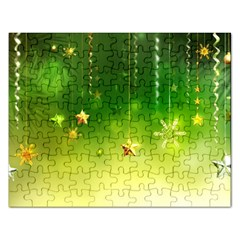 Christmas Green Background Stars Snowflakes Decorative Ornaments Pictures Rectangular Jigsaw Puzzl by Sapixe