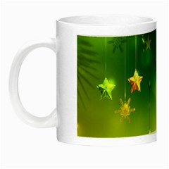 Christmas Green Background Stars Snowflakes Decorative Ornaments Pictures Night Luminous Mugs by Sapixe