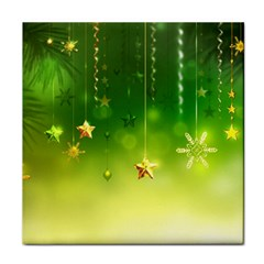 Christmas Green Background Stars Snowflakes Decorative Ornaments Pictures Face Towel