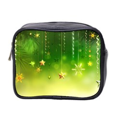 Christmas Green Background Stars Snowflakes Decorative Ornaments Pictures Mini Toiletries Bag 2 Side by Sapixe