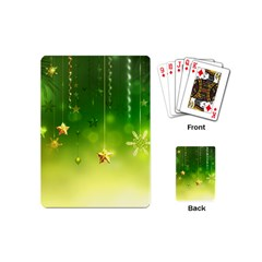 Christmas Green Background Stars Snowflakes Decorative Ornaments Pictures Playing Cards (mini)