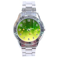 Christmas Green Background Stars Snowflakes Decorative Ornaments Pictures Stainless Steel Analogue Watch