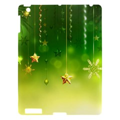 Christmas Green Background Stars Snowflakes Decorative Ornaments Pictures Apple Ipad 3/4 Hardshell Case by Sapixe