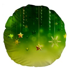Christmas Green Background Stars Snowflakes Decorative Ornaments Pictures Large 18  Premium Round Cushions by Sapixe