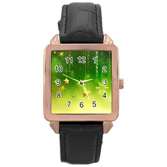 Christmas Green Background Stars Snowflakes Decorative Ornaments Pictures Rose Gold Leather Watch