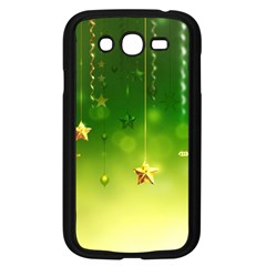 Christmas Green Background Stars Snowflakes Decorative Ornaments Pictures Samsung Galaxy Grand Duos I9082 Case (black)