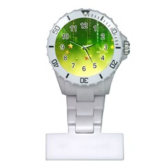 Christmas Green Background Stars Snowflakes Decorative Ornaments Pictures Plastic Nurses Watch