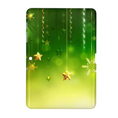 Christmas Green Background Stars Snowflakes Decorative Ornaments Pictures Samsung Galaxy Tab 2 (10 1 ) P5100 Hardshell Case  by Sapixe