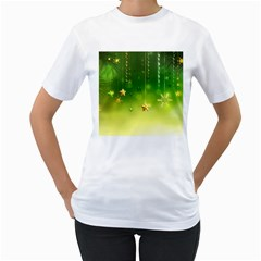 Christmas Green Background Stars Snowflakes Decorative Ornaments Pictures Women s T-shirt (white)