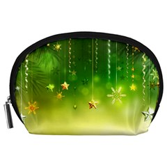 Christmas Green Background Stars Snowflakes Decorative Ornaments Pictures Accessory Pouches (large)