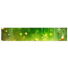 Christmas Green Background Stars Snowflakes Decorative Ornaments Pictures Small Flano Scarf